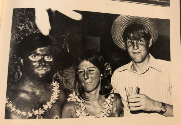 A photo on the Phi Gamma Delta fraternity yearbook page from 1972 shows someone wearing blackface for a costume.
