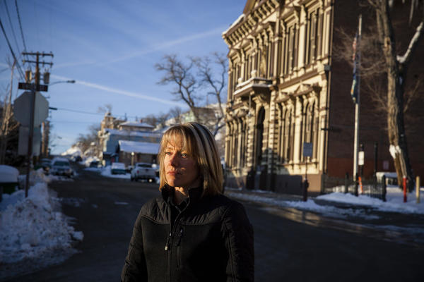 Melanie Keener stands outside the Storey County Courthouse in Virginia City, Nev., where she now works in a largely undefined security job. After filing a sexual harassment complaint against Sheriff Gerald Antinoro, Keener was removed from her position as the sheriff's chief deputy.