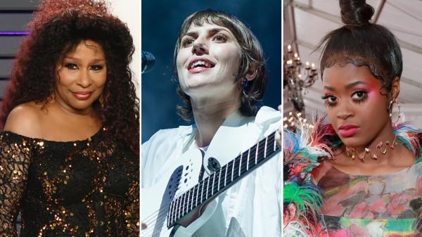Chaka Khan (left), Aldous Harding (center) and Tierra Whack all put out songs that made NPR Music's Top Ten list for February.