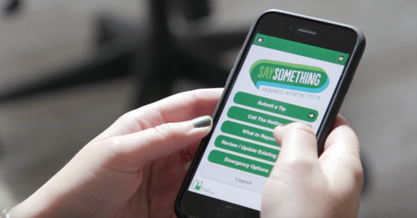 """A free app called """"Say Something"""" is available for students at participating schools across the nation."""