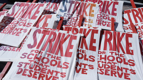 Piled up picket signs at Frank Ogawa Plaza in Oakland, Calif. Oakland teachers began a strike on Feb. 21.