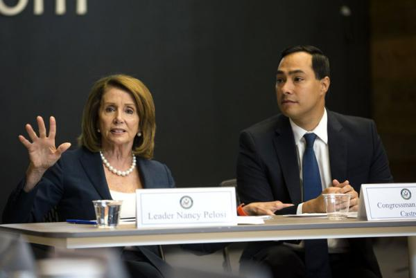 House Democratic Leader Nancy Pelosi and Congressman Joaquin Castro speak during a roundtable discussion with San Antonio business and academic leaders in 2016.