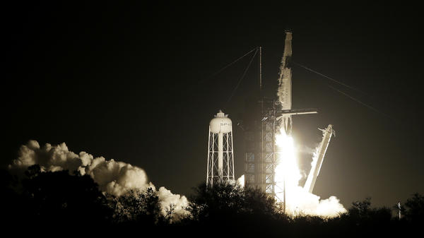 A SpaceX Falcon 9 rocket and Crew Dragon capsule lifts off from pad 39A on Saturday in Cape Canaveral, Fla.