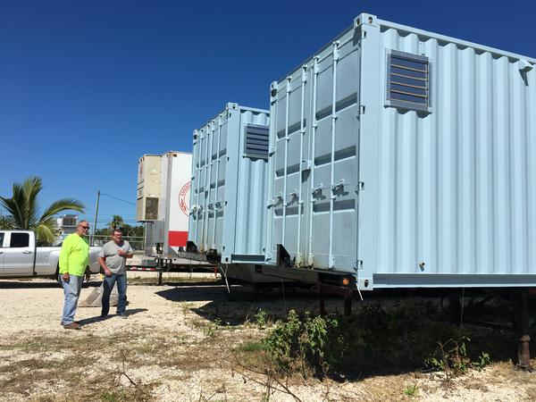 The new volunteer village on Big Pine Key can house 20 people in two shipping containers modified as bunkhouses.