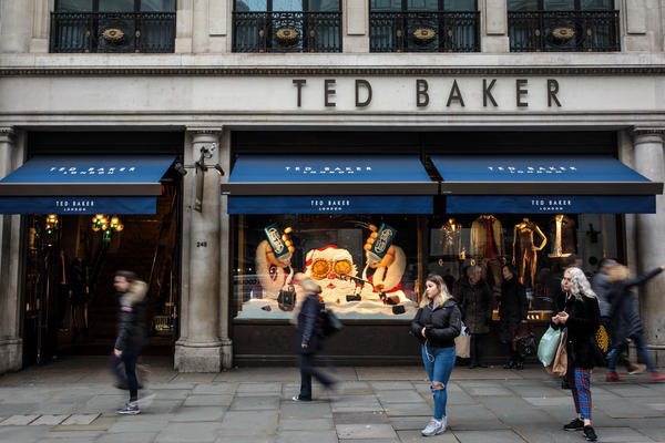 """A branch of Ted Baker stands on Regent Street in London, England. Ted Baker's CEO Ray Kelvin resigned after people who worked with him complained of """"forced hugging."""""""