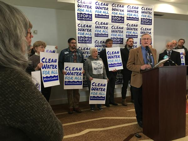 """Ron Klataske (center) is a rancher and leads Audubon of Kansas. He said the proposed changes to federal waterway oversight are the """"greatest rollback of conservation and protection of ecological resources that has occurred, ever."""""""