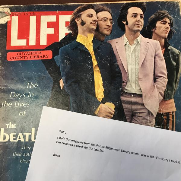The staff at Ohio's Cuyahoga County Public Library were surprised to receive a 1968 issue of <em>Life</em> magazine featuring the Beatles from someone who said he stole it as a kid.