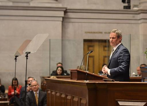Gov. Bill Lee addresses the Tennesee House of Representatives at his State of the State address.