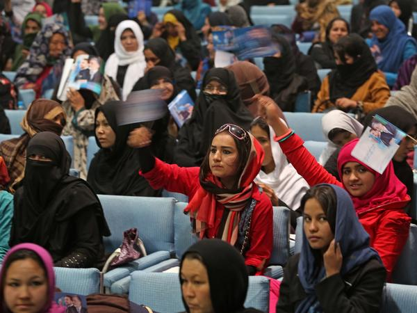 Female supporters of Afghan vice presidential candidate Habiba Sarabi attend a campaign rally for women in Kabul in 2014.