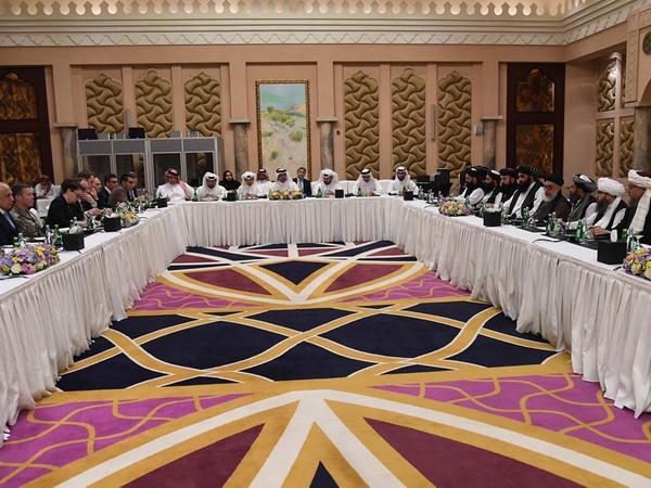 U.S. and Taliban negotiators meet in Doha, Qatar, on Feb. 26.