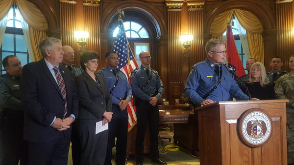 Lt. Colonel Eric Olson speaks to reporters after being named by Gov. Mike Parson to lead the Missouri State Highway Patrol