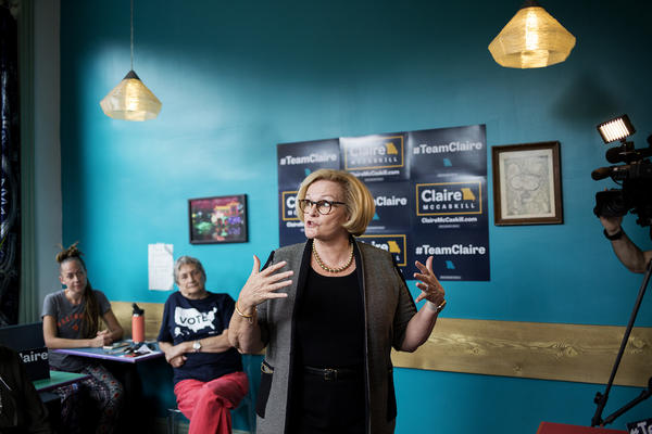 Senator Claire McCaskill speaks at Lona's Lil Eats in St. Louis on Aug. 30, 2018.