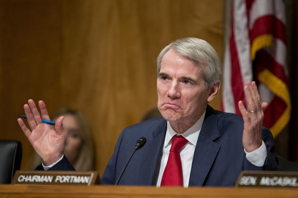 "Rob Portman in June 2016. Ohio's junior senator says Trump's emergency declaration makes him ""uncomfortable,"" but he has also repeatedly said he is undecided on how he will vote on an upcoming Senate resolution rejecting Trump's declaration."