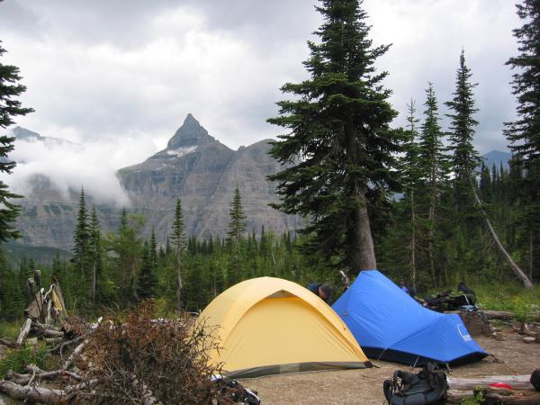 Hole-in-the-Wall backcountry campground in Glacier National Park.