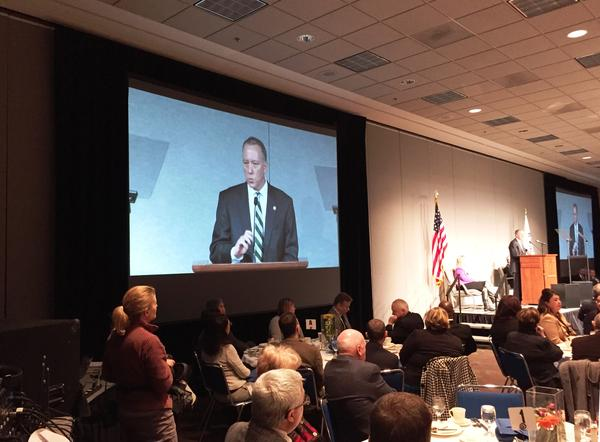 Mayor Dan Horrigan at a previous State of the City address. The mayor is pushing for a CDC for downtown Akron.