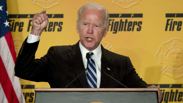 Former Vice President Joe Biden speaks to the International Association of Fire Fighters in Washington on Tuesday, amid growing expectations he'll soon announce he's running for president in 2020.