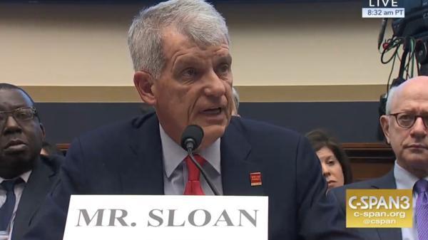 Wells Fargo CEO Tim Sloan testifies before a congressional hearing Tuesday.