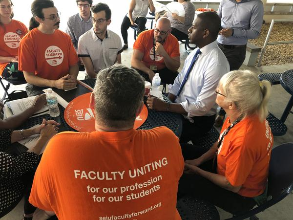 Union organizers and adjunct faculty meet with then-gubernatorial primary candidate Andrew Gillum at Miami Dade College's north campus over the summer.