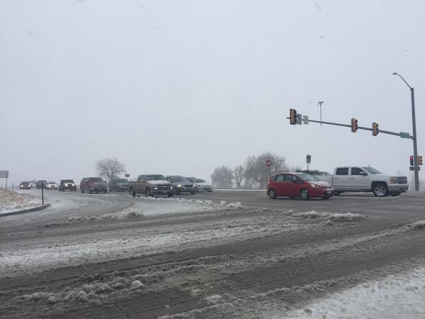 Traffic moving slowly on Hwy 34 in west Greeley the morning of March 13, 2019.