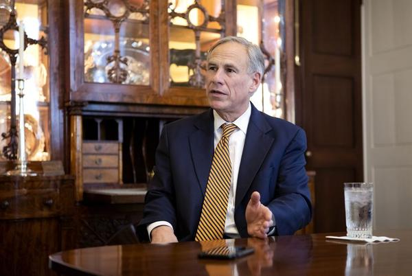 Gov. Greg Abbott speaks at the governor's mansion in January.