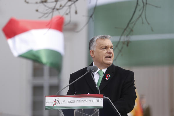 Hungarian Prime Minister Viktor Orban delivers a speech in front of the National Museum during Hungary's National Day celebrations on Friday in Budapest. Hungary's National Day celebrations commemorate the 1848 Hungarian Revolution against the Habsburg monarchy.