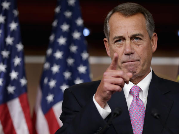 Former speaker of the house John Boehner has emerged as one of the most vocal advocates in the GOP for legalizing marijuana. Above, Boehner answers questions at the U.S. Capitol on December 5, 2013.