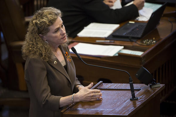 State Rep. Donna Howard speaks in the Texas House chamber.