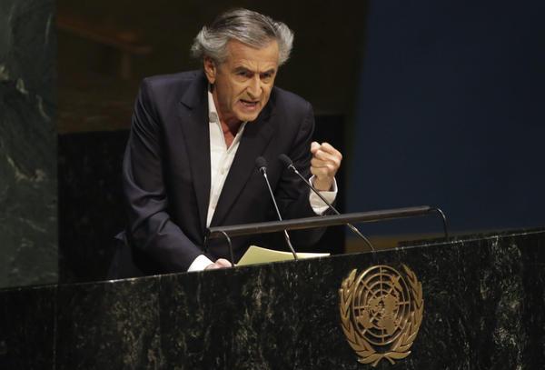 French philosopher and writer Bernard-Henri Lévy addresses the United Nations General Assembly on Jan. 22, 2015. (Richard Drew/AP)