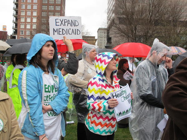 Hundreds of people gathered at the Statehouse in April 2013 to show support for Medicaid expansion. Gov. John Kasich got it approved by the state Controlling Board later that year.
