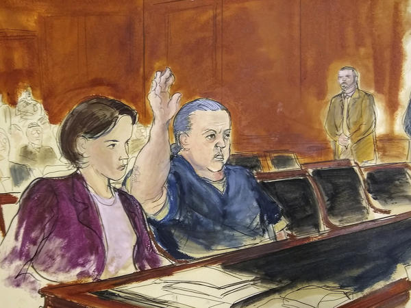 A courtroom sketch from November 2018 shows Cesar Sayoc, who pleaded guilty in New York on Thursday to sending bombs to media figures and to critics of President Trump.