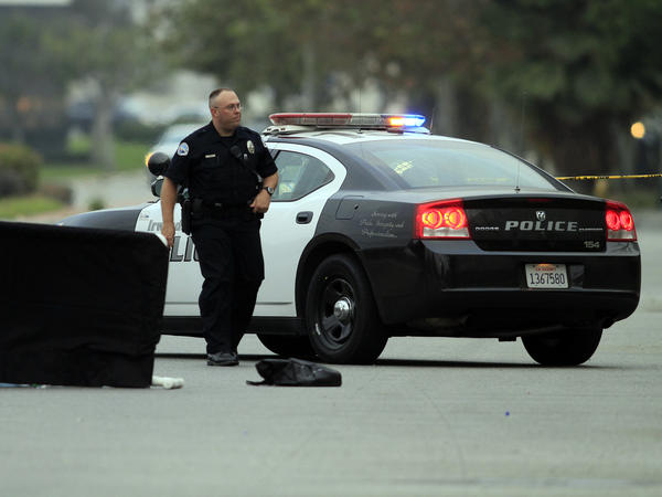 An Irwindale police officer responds to a call.