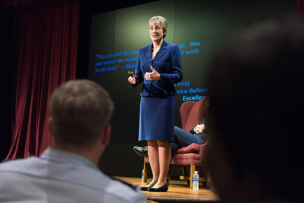 Former Secretary of the Air Force, Heather Wilson talking to U.S. Air Force students in 2017.