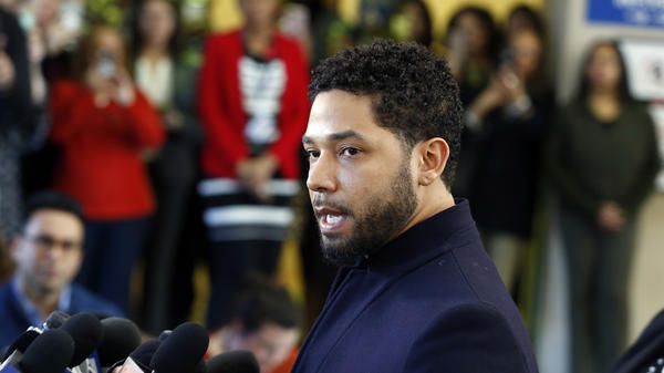Jussie Smollett addresses the media after appearing in a Chicago courtroom on Tuesday. The <em>Empire</em> actor reasserted his innocence after prosecutors dropped the charges against him, but Chicago police are upset with the decision.