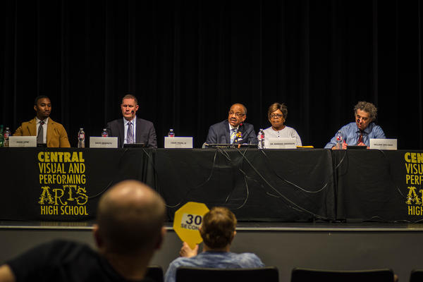 Five of the seven candidates for the St. Louis school board answered questions at a forum Wednesday evening.
