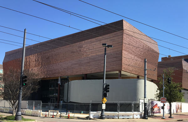 A view of the in-progress Holocaust and Human Rights Museum of from Houston Street in downtown Dallas.