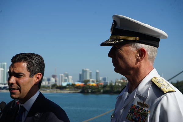 US Navy Admiral Craig Faller, pictured here with City of Miami Mayor Francis Suarez.