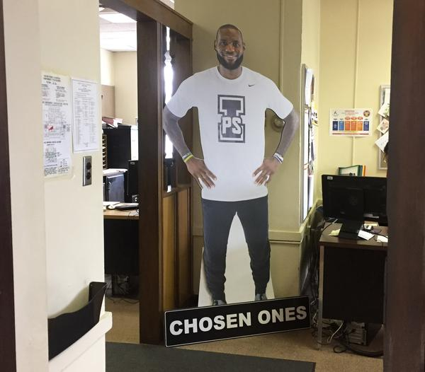 A cutout of LeBron James stands in the I Promise School, which is supported by the Akron Public Schools system and partnerships with James' family foundation.