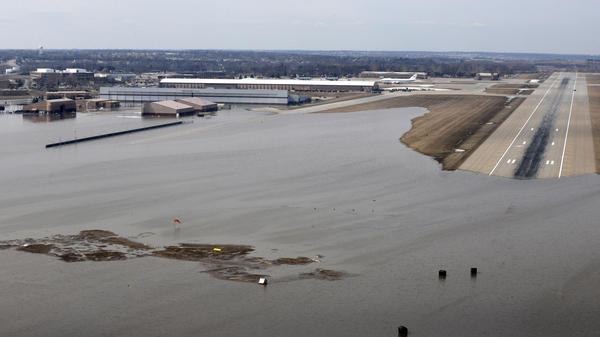 An aerial view of Offutt Air Force Base and the surrounding areas affected by floodwaters in Nebraska on March 17. One-third of the base was covered by water from flooding.