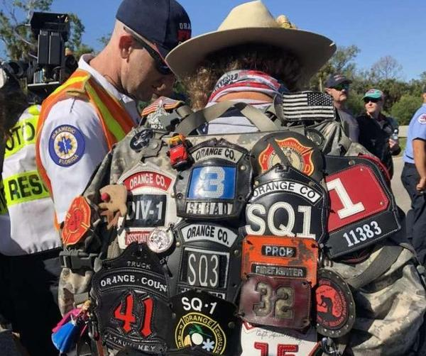 """Tom """"Bull"""" Hill walked from Key West to Tallahassee with the ashes and badges of firefighters who died from cancer."""