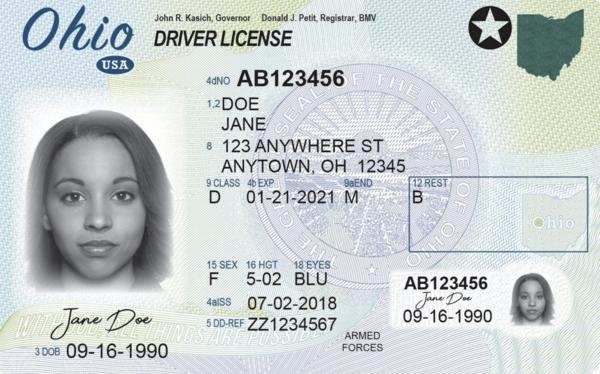 Current Ohio Drivers' License