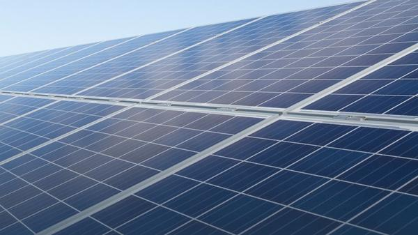 This photo shows a close up view of  some of the solar panels at FPL's Manatee County facility.