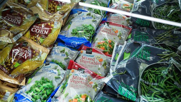 Frozen vegetables are displayed for sale at an Aldi supermarket in Hackensack, N.J.