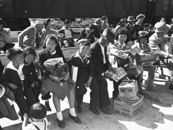 Japanese-American internees waiting for Registration at the Santa Anita reception center in Los Angeles, California.
