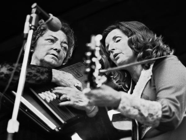 """""""Mother"""" Maybelle Carter (left) performs with her daughter Helen in 1977 at the A.P. Carter Memorial Festival in Virginia."""