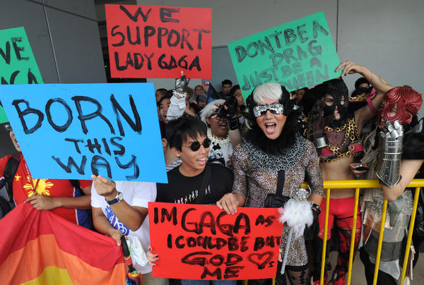 Fans of Lady Gaga gather outside a concert in Manila in 2012.