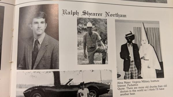Virginia governor Ralph Northam's medical school yearbook page, showing a photo of a man in blackface and another man in a Klu Klux Klan costume.