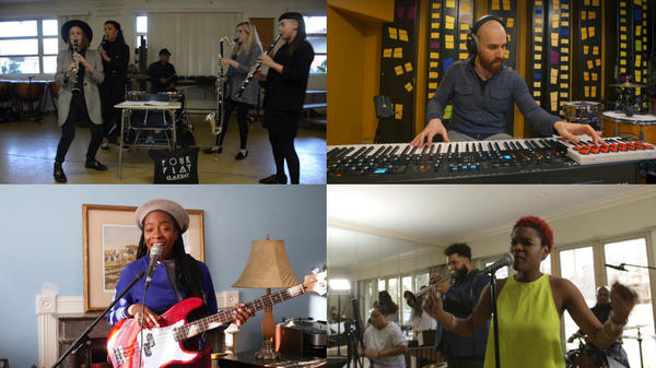 Some of our favorite entrants to the Tiny Desk Contest this week (clockwise from top left): Four Play Clarinet; GLASYS; Lulu Fall; Kristen Joselle.