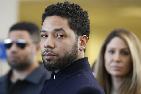 Actor Jussie Smollett after his court appearance at Leighton Courthouse on March 26, 2019 in Chicago, Illinois. This morning in court it was announced that all charges were dropped against the actor.