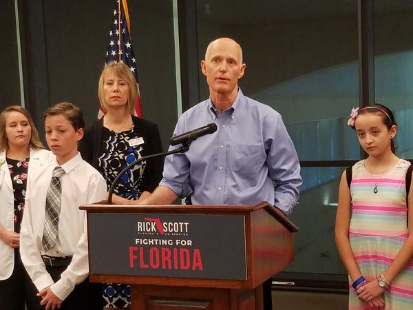 Sen. Rick Scott at a press conference held at the Southwest Florida International Airport in Fort Myers.