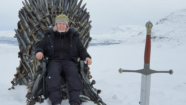 Josefine Wallenå of Sweden sits on the Iron Throne after driving eight hours to find it.